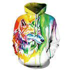 Fashion hoodies colorful Wolf Printed Pullover Pocket sport hoodies S-3XL 230