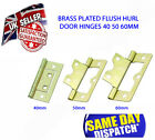 Flush Hinges for Cupboard Door Brass Finish 40 50 60mm, Hurl Hinge Style -1 Pair