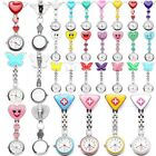 Stainless Steel Heart Smile Medical Nurse Quartz Pocket Clip-on Brooch Fob Watch