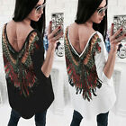 Fashion Women Ladies Long Sleeve Loose Blouse SEXY Backless Casual Shirt Tops US