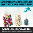 CLEAR CELLOPHANE BLOCK BOTTOM BAGS FOR SWEET GIFTS AND FAVOURS - VARIOUS SIZES
