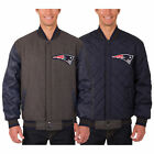 New England Patriots Wool & Leather Reversible Jacket with Embroidered Logos