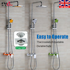 Thermostatic Shower Mixer Chrome Bathroom Exposed Twin Head Valve Set Brand New