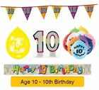 AGE 10 - Happy 10th Birthday Party Banners, Balloons Candles & Decorations