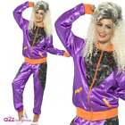 Womens Purple Retro Shell Suit Trackie 80s Ladies Fancy Dress Costume UK 8-22