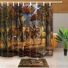 Deer In Forest Waterproof Polyester Fabric Shower Curtain Set 71Inch Long