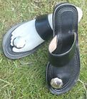 100% MOROCCAN LEATHER  TOE POST SANDALS BLACK *
