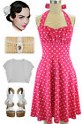 50s Inspired FUCHSIA with White POLKA DOTS Pinup Betty HALTER TOP Sun Dress