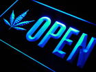 j791-b OPEN Marijuana Hemp Leaf High Life Light Sign