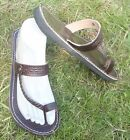 100% MOROCCAN LEATHER  TOE LOOP BEACH SANDALS BROWN *