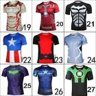 Marvel Superhero Compression T Shirt Running Sports Fitness Tops Batman Superman
