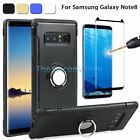 Hybrid Armor Ring Stand Hard Case Cover+Tempered Film for Samsung Galaxy Note 8