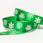 Green Christmas snowflake ribbon BULK 5m 10m lot of 10mm gift wrapping party