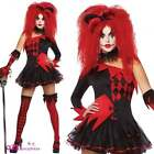 WOMENS SEXY JESTERINA HARLEQUIN BABE JESTER CLOWN HALLOWEEN ADULT FANCY DRESS
