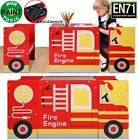 Kids Red Fire Engine Truck Table & Chairs Set Children Wooden Furniture Toddler
