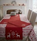 100% Cotton Embroidered Christmas Dining Table Cloth / Runner Noel Yuletide Red