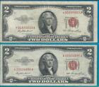 Lot of 2 - 1953 2$ Two Dollar Notes Red Seal STAR NOTE *01695603