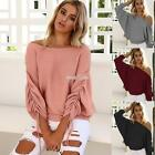 Women Off Shoulder Elastic Ruched Batwing Long Sleeve Solid Knitted S0BZ