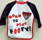 OFFICIAL AFL ESSENDON BOMBERS BABY'S BORN TO PLAY FOOTY LONG SLEEVE BIB T-SHIRT