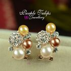 18CT Rose Gold Plated Style Pearls Stud Earrings MadeWith Swarovski Crystal