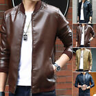 Men's Casual Stand Collar Motorcycle Jacket PU Leather Slim Fit Breasted Outwear