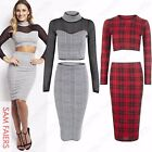 NEW LADIES DOGTOOTH TARTAN CHECK SUIT CROP TOP MESH PENCIL SKIRT WOMENS BODYCON