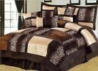 Full Queen Cal King Leopard Zebra Brown Tan Patchwork Faux Fur 7pc Comforter Set image