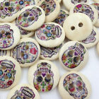 15 pcs Wooden Vintage Style Sugar Skull Buttons. Various Designs.