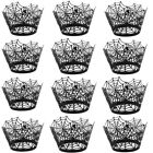 12Pcs Laser Cut Cupcake Wrappers Halloween Party Decoration Wrap Lace Case Cake