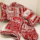PERSONALIZED RED & WHITE HANDMADE RETRO KNITTED SOCKS BED BOOT X  #Socks