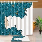 Mermaid with Blue Hair Bathroom Fabric Shower Curtain Set With Hooks 71Inch Long