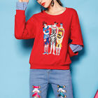 HOT Embroidery Pullover Tops Striped Long Sleeve Girls Red Hoodies Autumn XL-4XL