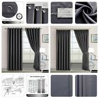 THERMAL BLACKOUT CURTAINS Eyelet Ring Top OR Pencil Pleat FREE Tieback Dark Grey