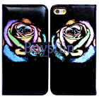 Bcov Colorful Rose Flower Card Slot Wallet Leather Cover Case For iPhone 8