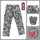 Levis Mens Cargo Pants Relaxed Fit Light Gray Camouflage Cotton MANY SIZES! NWT