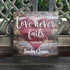 Custom Love Never Fails Canvas, Personalized, Perfect Anniversary / Wedding Gift