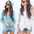 Women Girl Hoodie Overlapping Sweatshirt Long Sleeve Crop Jumper Pullover Tops