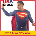 Hot Adult Men Superman Costume Red Cloak Cosplay Halloween Bodysuit Spandex