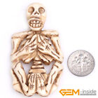 Hand-Carved Big Body Skeleton Skull Bone Beads For Halloween Jewelry Making 1Pcs
