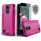 BRUSHED SHOCKPROOF COVER PHONE CASE FOR [LG PHOENIX 3] +BLACK TEMPERED GLASS