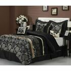 Full Queen Cal King Bed Silver Gray Black Gold Floral Pleat 7 pc Comforter Set