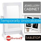 Mirror Jewellery Cabinet Stand Storage Makeup Organiser Wood Box Table Top White