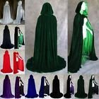 Adult Halloween Costume Witchcraft Cape Gothic Hooded Velvet Cloak Wicca Robe US