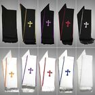 MENZ Clergy Stole Cross Embroidery for Full Length Preacher Robe