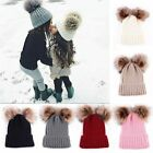 Kyпить Mom&Newborn Baby Boy Girls Winter Warm Double Fur Pom Bobble Knit Beanie Hat Cap на еВаy.соm