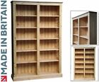 Solid Pine Bookcase, 6ft x 4ft Handcrafted Adjustable Display Shelving