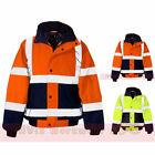 2 Tone Hi Viz Waterproof Storm Padded Bomber Jacket Mens Coat Workwear Security