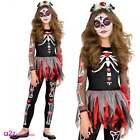 Girls Day Of The Dead Skeleton Scared To The Bone Halloween Fancy Dress Costume