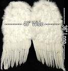 "White Feather Wings + Halo Halloween Costume - HUGE 36"" - 24"" or 14"" FREE SHIP!"