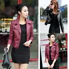 US Vintage Women Black Slim Biker Motorcycle PU Leather Jacket Zipper Short Coat